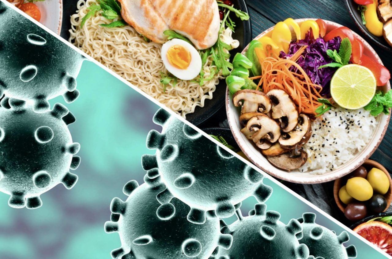 COVID-19 virus balanced against healthy food