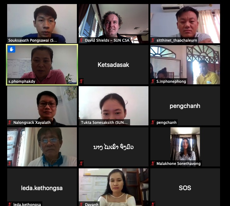 ZOOM screenshot of 15 staff from CSOs on webcams during meeting