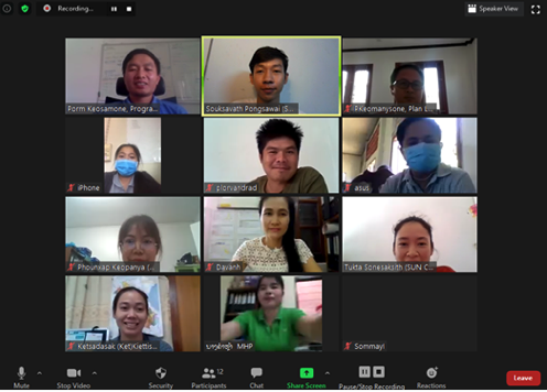 Screenshot of 11 people on webcams during ZOOM Hangout meeting with lao CSO staff