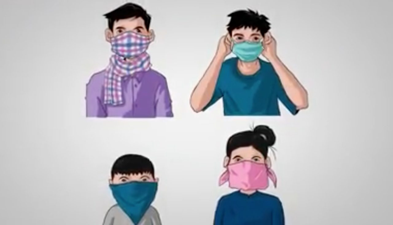 Cartoon of 4 people wearing masks to protect from COVID-19