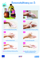 7 Steps of hands washing poster - Lao